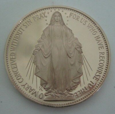 Vintage Jesus Sacred Heart Mary Conceived Without Sin Bronze Pocket Coin 1970s