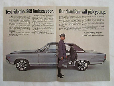 1969 AMC Ambassador Two Page Original Ad from Reader's Digest October 1968.
