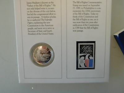 Commemorative.us.1/2.d0Llar.1993.silver.bill.of.rights.+Stamp...
