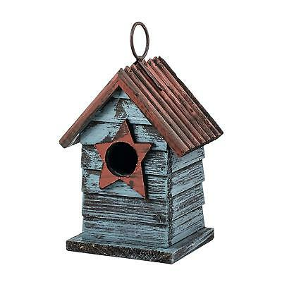 """6.5"""" Blue Hanging Rustic Style Birdhouse"""