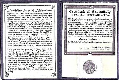 Forbidden Coin of Afghanistan,5 Afghani.with Certificate,Story and Album