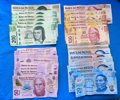 Lot of Current/Vintage Mexico Banknotes  *2970 MXN*    *All Legal Tender*