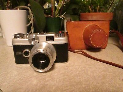 Vintage Argus C44 35mm Camera 50mm F:2.8 Cintagon, leather case.Free shipping.