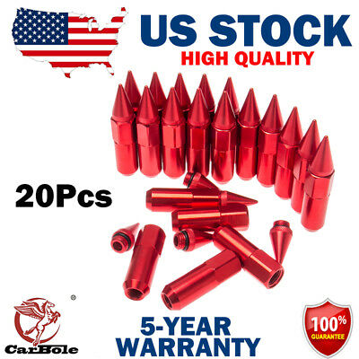 New 20x Red 60mm M12X1.5 Cap Spiked Extended Tuner Aluminum Wheels Rims Lug Nuts