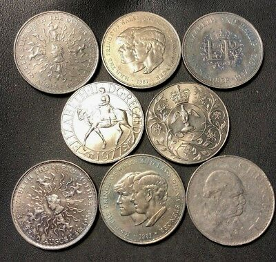 Vintage Great Britain Coin Lot - 8 Mixed Type Crowns - Lot #717
