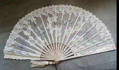 Antique Lace & Painted on Gauze Hand Fan, Ca. 1895-1910