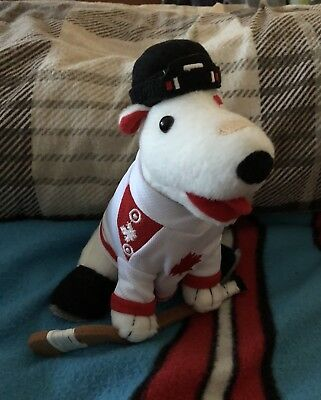 Target Canadian Hockey Player Bullseye Dog with Hockey Stick!