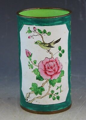 Vintage Chinese Hand Painted Enamel Brush Pot