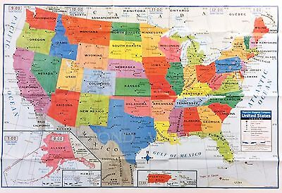 "USA US MAP Poster Size Wall Decoration Large MAP of United States 40""x28"" NEAT!!"