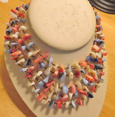 Vintage Mother of Pearl 5 Strand Necklace - Faux Coral and Turquoise