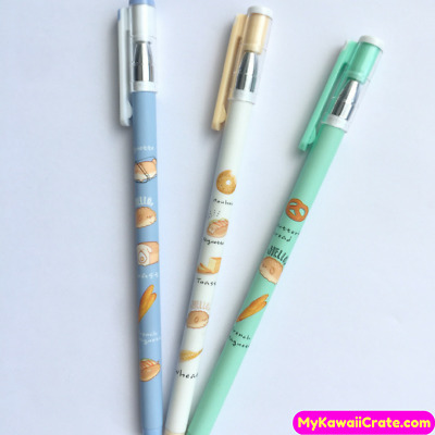 3x Kawaii Funny Puppy Dog Bread Gel Pens ~ Funny Dogs Pen Bakery Stationery Gift