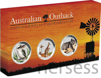 Australia 2012 Australian Outback 3-coin colored silver proof set PERFECT!