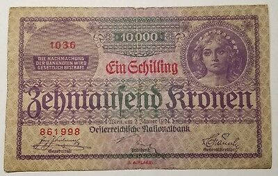 1924 Austria 10 Shilling Currency Note Pick 87