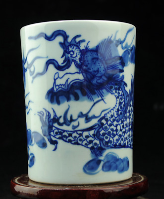 chinese old Blue &White porcelain dragon pattern brush pot /qianlong mark60 b02