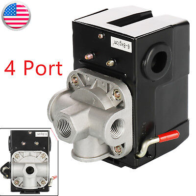 "1/4"" 4 Port Air Compressor Pressure Switch Control Valve 90-120PSI with Unloader"