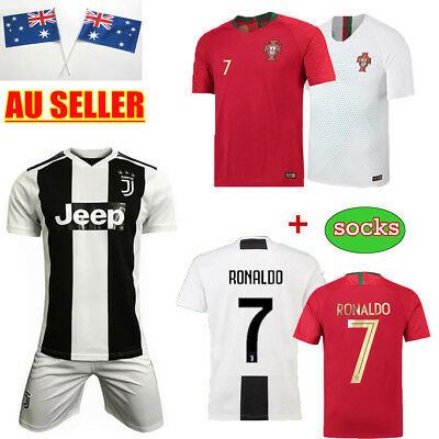 18/19 Football Ronaldo Jersey Authorized Short Sleeve for 3-14Y Kid Kit Portugal