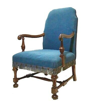 Period 18th C. English Walnut Armchair Lounge Chair Scrolled Arms Turned Leg