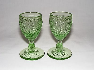 2 Vintage Antique Green American Pressed Glass Wine Cordial Goblets 1880