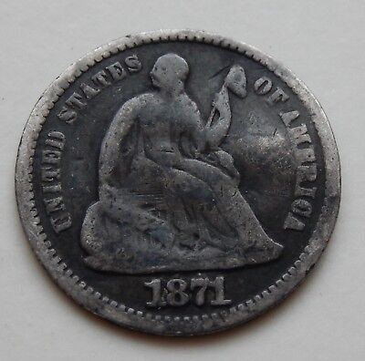 1871 Seated Liberty Half Dime ~  Silver Coin