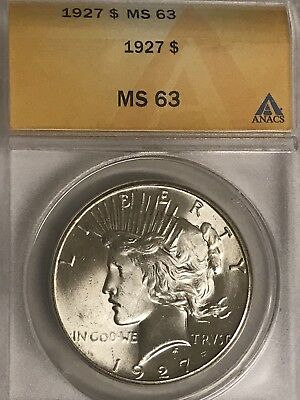 1927  Peace Dollar MS63 ANACS White Front Toned Cartwheel Reverse!