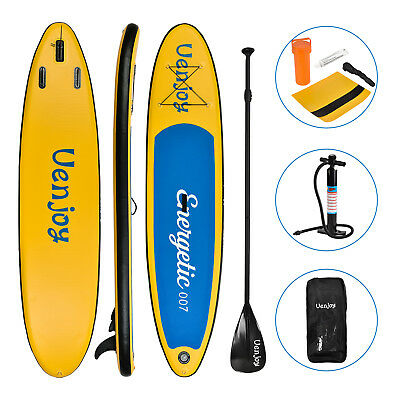 10' Inflatable SUP Stand up Paddle Board Surfboard Adjustable Fin Paddle Yellow