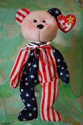 #4 Vtg (pink face) Spangle 1999 Bear TY Beanie Babies has tag  collectible toy