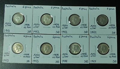 Lot of 8 Australia 6 Pence Silver Coins KM38 .925 Sterling 1941 1942 1943 1944