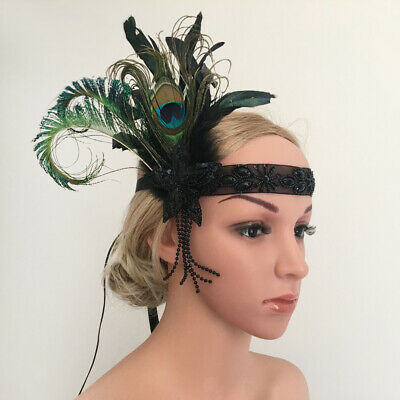 Bridal Flapper Peacock Headband Headpiece 1920s  Gangster Headdress