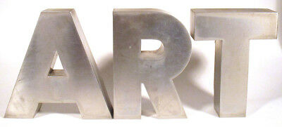 1950s Vintage Stainless Steel Sign ART A R T Mid-Century Modern Letters Futura