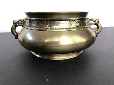 Rare Antique Chinese Bronze Censer Incense Burner Xuande Mark