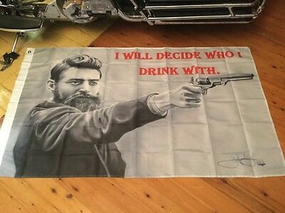 MANCAVE OR BAR FLAG NED KELLY banner biker Harley outlaw man cave sign