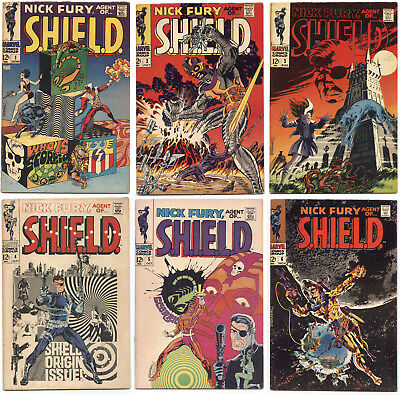 Nick Fury, Agent of SHIELD #1, 2, 3, 4, 5, 6 Fine 1968 Steranko - 6 key books