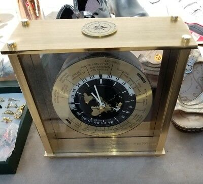 Vintage Glass Seiko japan GMT World Time Clock Airplane Second Hand. works!!!