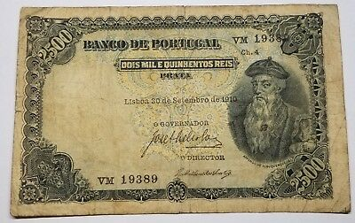 SCARCE 1916 Portugal 2500 2 1/2 Mil Reis Pick 107 Currency Note Scarce