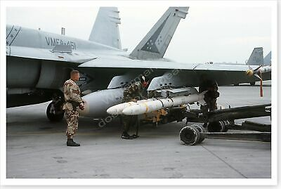 USMC F/A-18A Hornet Missile Loading Operation Desert Storm 8x12 Photo
