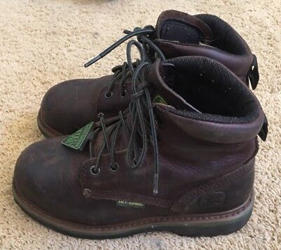 Womans John Deere Brown Leather Steel Toe Lace-up Boots Size 6.5 Wide EUC