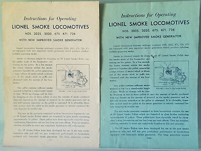 Lionel New Improved Smoke Generator Instructions Blue and White 1947