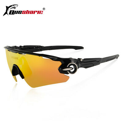 8049dc70395 Queshark Polarized Cycling Glasses Bike Goggles Fishing Sunglasses UV400 3  Lens