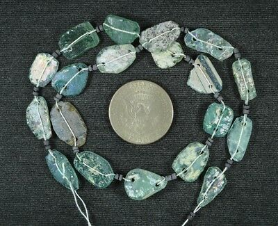 Ancient Roman Glass Beads 1 Medium Strand Aqua And Green 100 -200 Bc 931