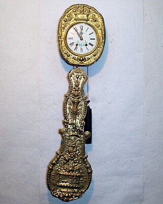 Old Little Wall Clock Chime Clock Comtoise Louise Jaquine Sant. Etienne