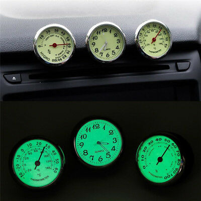 Auto Car Dashboard Decoration Ornaments Luminous Clock Thermometer Hygrom R