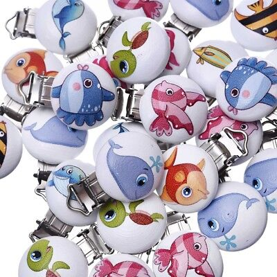 5Pcs Set Mixed Pattern Wooden Pacifier Clips Cute Round Nipple Clasps For Kids