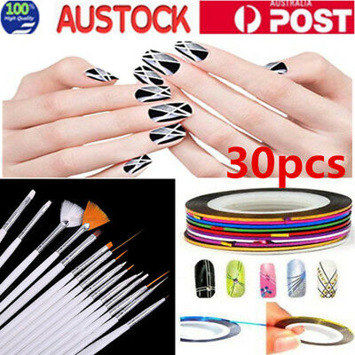 30x DIY Nail Art Painting Drawing Design Polish Brushes Dotting Pen Tool Set AU