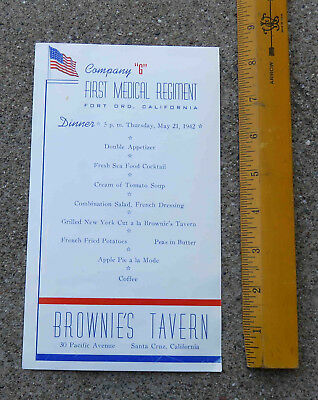WW2 May 21 1942 Company G First Medical Regiment Fort Ord Menu Brownie's Tavern
