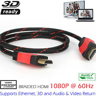 Hdmi Cable V1.4 Full Hd Tv Bluray Playstation Xbox 360 1080P Gold High Speed
