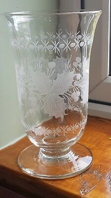 Victorian Stourbridge glass engraved celery vase.