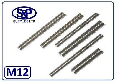 M12 - 12mm ST/STEEL THREADED BAR STUDDING FROM 100MM TO 350MM LONG A2 ST/STEEL