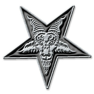 Pentagram Metal Pin Button Badge Baphomet Satan Devil