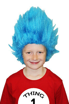 Costume Girl Boy Child Bookweek Dr Seuss Cat in the Hat Thing 1 Thing 2 Blue Wig