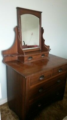 Vintage Antique Wood Dressing Table Chest Drawers With Mirror